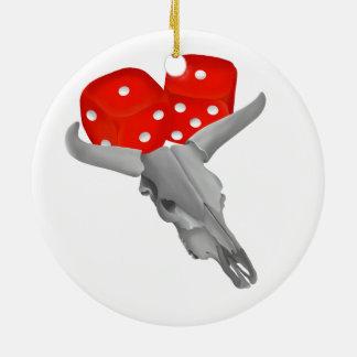 Ornement Rond En Céramique Crâne de vache et matrices de merdes de joueurs