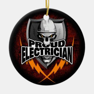 Ornement Rond En Céramique Crâne fier d'électricien
