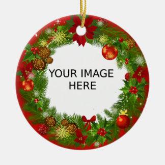 Ornement Rond En Céramique Créez votre propre photo mignonne et élégante