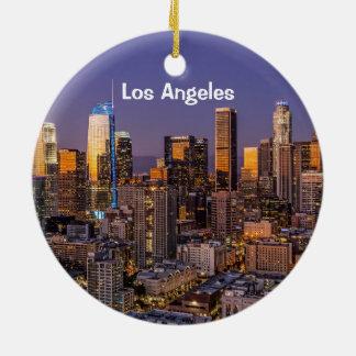 Ornement Rond En Céramique Crépuscule du centre de Los Angeles