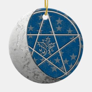 Ornement Rond En Céramique Croissant de lune et pentagramme argentés doubles