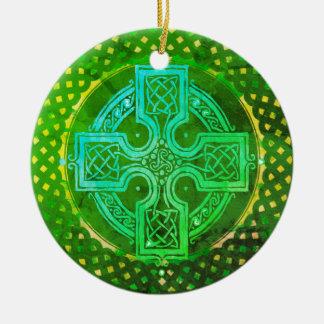 Ornement Rond En Céramique Croix celtique