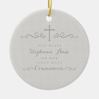 Ornement Rond En Céramique Croix fleurie de communion dans le motif floral de