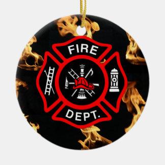 Ornement Rond En Céramique Croix maltaise de département du feu de pompier du