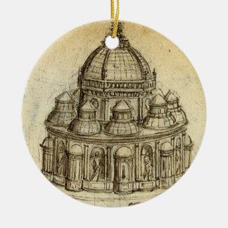 Ornement Rond En Céramique Croquis architectural par Leonardo da Vinci