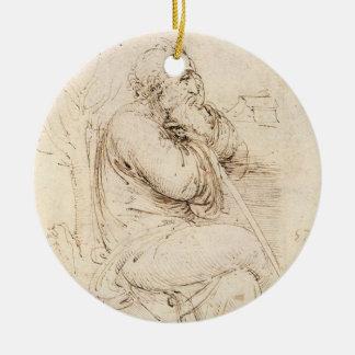 Ornement Rond En Céramique Croquis de vieil homme et d'eau par Leonardo da