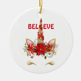 Ornement Rond En Céramique Croyez la licorne de Noël