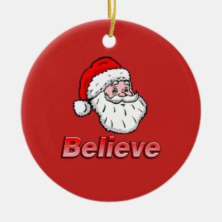 Ornement Rond En Céramique Croyez Père Noël
