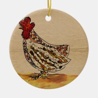 Ornement Rond En Céramique Cru de poulet