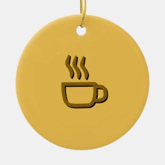 Ornement Rond En Céramique Cuisson à la vapeur de l'icône de tasse de café