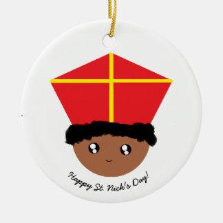 Ornement Rond En Céramique Cutieful badine la mitre Zwarte Piet de