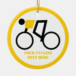 Ornement Rond En Céramique Cycliste montant sa coutume de bicyclette
