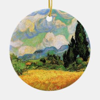 Ornement Rond En Céramique Cyprès du champ de blé de Van Gogh W chez Haute