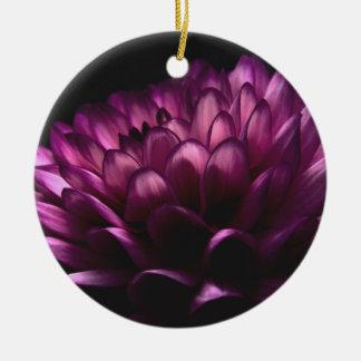 Ornement Rond En Céramique Dahlia de fleur
