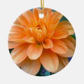 Ornement Rond En Céramique Dahlia orange