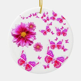Ornement Rond En Céramique Dahlia rose fuchsia et motif blanc de papillons