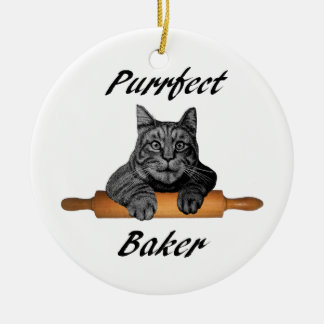 Ornement Rond En Céramique Dame folle de chat de cadeaux de chat de Baker de
