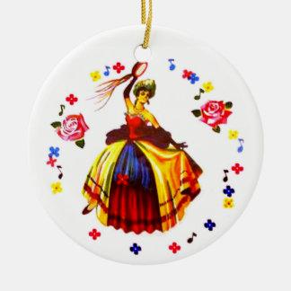 Ornement Rond En Céramique Danseur espagnol