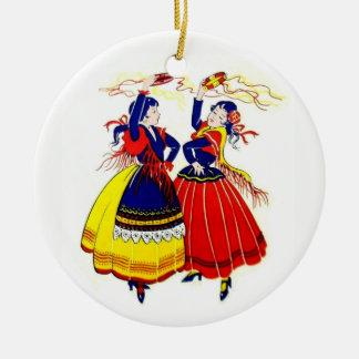 Ornement Rond En Céramique Danseurs de flamenco