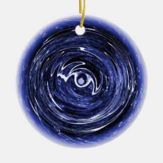 Ornement Rond En Céramique Décoration d'arbre de Noël d'étoile bleue