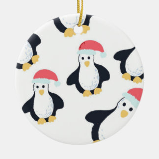 Ornement Rond En Céramique Décoration d'arbre de pingouins de Noël