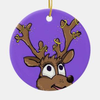 Ornement Rond En Céramique Décoration d'arbre de renne de Noël