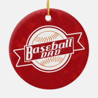 Ornement Rond En Céramique Décoration de vacances de papa de base-ball
