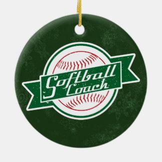 Ornement Rond En Céramique Décoration de vacances d'entraîneur du base-ball