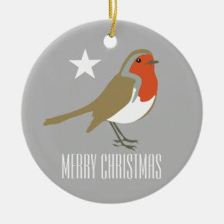 Ornement Rond En Céramique Décoration rouge d'ornement de Joyeux Noël
