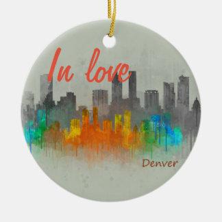 Ornement Rond En Céramique Denver Rouge Ville Watercolor Skyline In Love