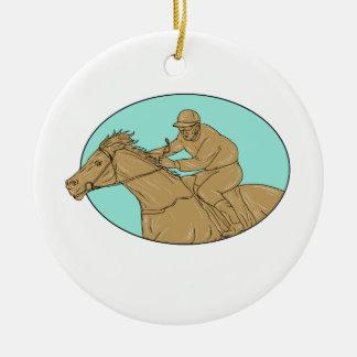 Ornement Rond En Céramique Dessin ovale de course de chevaux de jockey