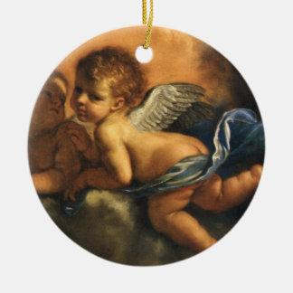 Ornement Rond En Céramique Détail d'ange, saints patron de Modène par