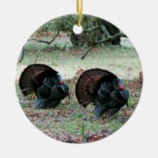 Ornement Rond En Céramique Dindes sauvages de jour de thanksgiving dans un