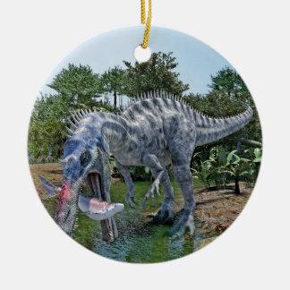 Ornement Rond En Céramique Dinosaure de Suchomimus mangeant un requin dans un