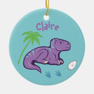 Ornement Rond En Céramique Dinosaure Iguanodon de bébé