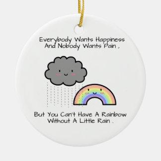 Ornement Rond En Céramique Dire mignon de bonheur de nuage de pluie