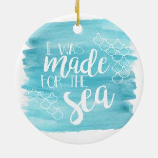 Ornement Rond En Céramique Dirigé vers l'ornement d'aquarelle de mer
