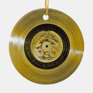 Ornement Rond En Céramique Disque d'or et couverture de vaisseau spatial de