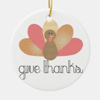 Ornement Rond En Céramique donnez la dinde de thanksgiving de mercis