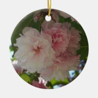 Ornement Rond En Céramique Double ressort se développant du cerisier I floral