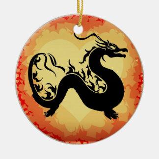 Ornement Rond En Céramique Dragon asiatique