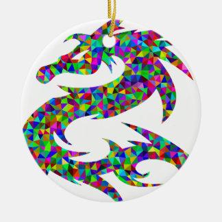 Ornement Rond En Céramique dragon coloré