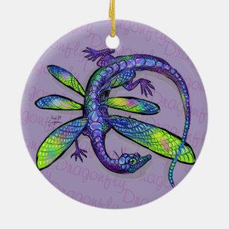 Ornement Rond En Céramique Dragon de libellule