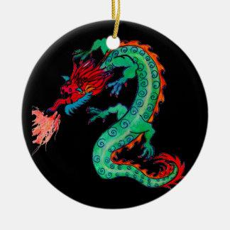 Ornement Rond En Céramique Dragon de respiration du feu sur l'ornement