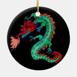 Ornement Rond En Céramique Dragon de respiration du feu sur l'ornement de