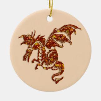Ornement Rond En Céramique Dragon flamboyant