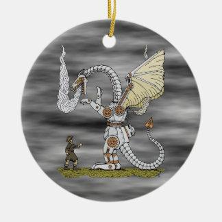 Ornement Rond En Céramique Dragon mécanique