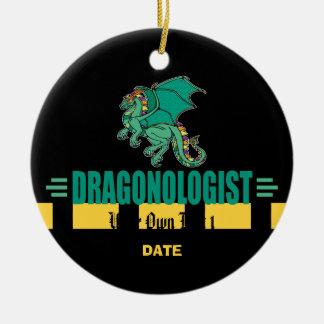 Ornement Rond En Céramique Dragon vert d'imaginaire