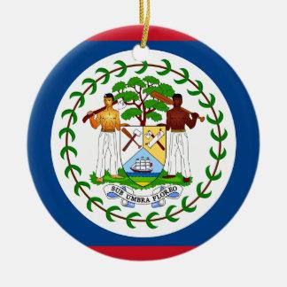 Ornement Rond En Céramique Drapeau de Belize