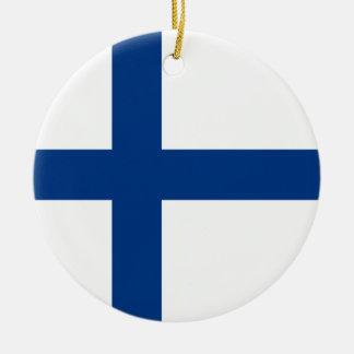 Ornement Rond En Céramique Drapeau de la Finlande